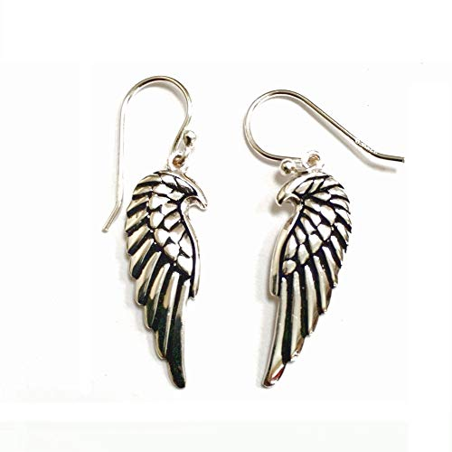 925 Solid Sterling Silver Dangling Angel Wing Drop Earring with French Wire - 100% Hypoallergenic Jewelry ()