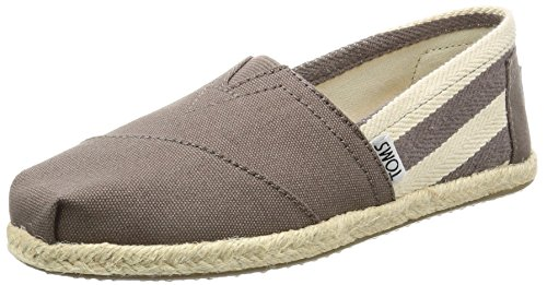 TOMS Women's Classics Flat, Dark Grey Stripe Canvas, 5.5 B - - Grey Canvas Stripe