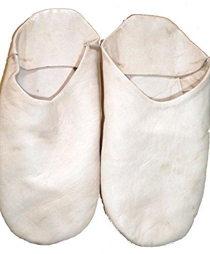 Mocassini Marocchino Fiera Tradizionale 100 Pelle Bianca Babouche Pantofole qBpxdwpt