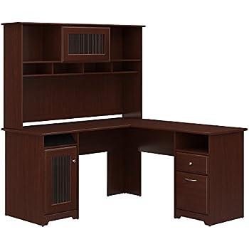 bush furniture tuxedo l shape wood computer desk set with hutch in mocha cherry. Black Bedroom Furniture Sets. Home Design Ideas