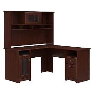 Bush Furniture Cabot L Shaped Desk with Hutch in Espresso Oak