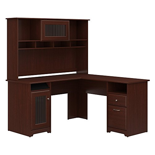 Bush Furniture Cabot L Shaped Desk with Hutch in Harvest Cherry