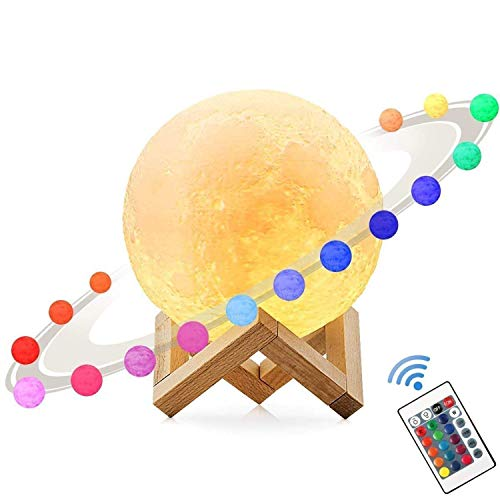 3D Moon Lamp,MUEQU USB Colour Changing Night Light,Adjustable Brightness Lunar Table Lamp Moonlight With Remote Control Home Decorative Lights for Birthday Christmas 7 inch 18 CM