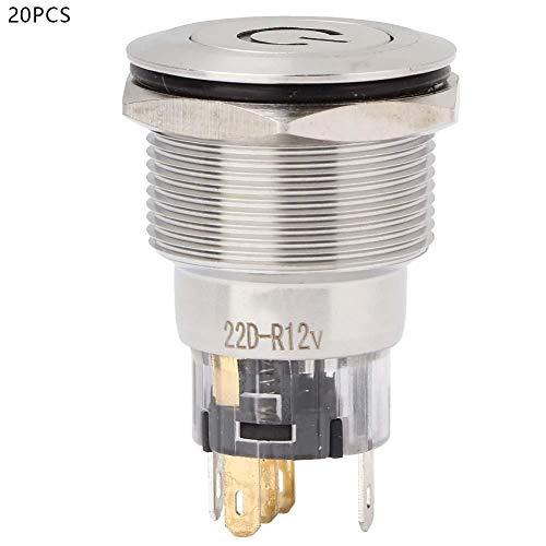 フラットヘッドプッシュボタンスイッチ、20個12VDC 22mmステンレス鋼自動リセットフラットヘッドボタンスイッチ、スターターリレーコンタクター用電源ラベル付き(赤)