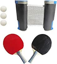 DRB All-in-one Ping Pong Set | Retractable Anywhere Portable Adjustable Table Tennis Net for Any Table with 2