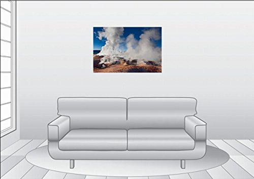 Premium Textile Toile Toile Toile 90 cm x 60 cm de Paysage Geyser Champ sol de Manana |, image sur châssis, image sur toile véritable terminé, toile impression 90x60 cm 30caec