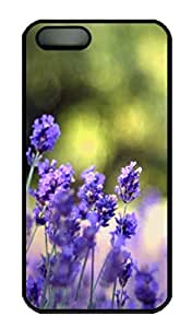 Beautiful Lavender Flowers Cover Case Skin for iPhone 5 5S Hard PC Black