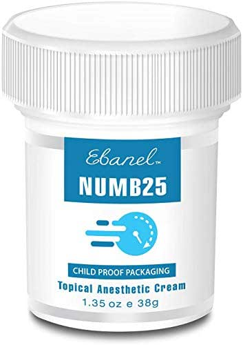 Numb25 Topical Numbing Cream, Lidocaine 5% Max Strength, 1.35oz Painkilling Anesthetic Ointment Rub with Liposomal Technology, Relief Local Anorectral Discomfort
