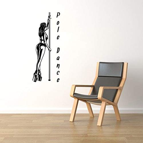 Artstickerscool Wall Decor Acrobatic Pilates Art Mural Pole Dance Removable Sticker Fitness Sexy Girl Vinyl Decal Gymnastic Dancer Fans Design Gym Interior Wal (Pole Dance Wall Decal)