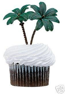 CakeDrake PALM TREE Hawaiian Tropical Hula Luau Dinosaur Ocean (12) Cupcake PICS Picks L
