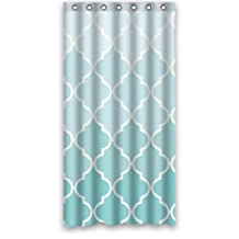 "Quatrefoil Ombre Blue and White Lattice Waterproof Bathroom Shower Curtain 36""(W) x 72""(H)"