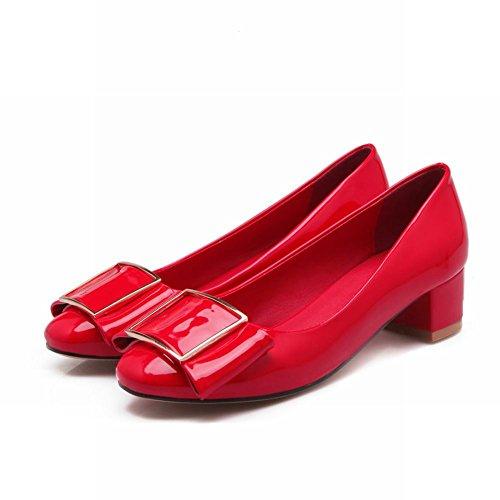 Carol Shoes Grace Womens Bows Fashion Charms Chunky Mid Heel Dress Pumps Shoes Red N2TIauJLk