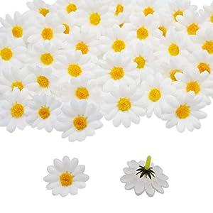 HZOnline Artificial Silk Daisy Flower Heads, Fake Fabric Gerbera Floral Head for DIY Easter Eggs Beach Bonnet Craft Wedding Arch Garland Decoration (100pcs White) 12