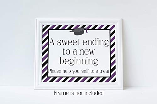 A Sweet Ending to A New Beginning, Please Help Yourself To A Treat, Graduation Sign, Graduation Party Decorations, Purple and Black, Glossy 8x10 Sign, Frame is NOT -