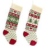 Kurt Adler Red, Ivory And Green Christmas Tree And Snowflake Knit Stockings