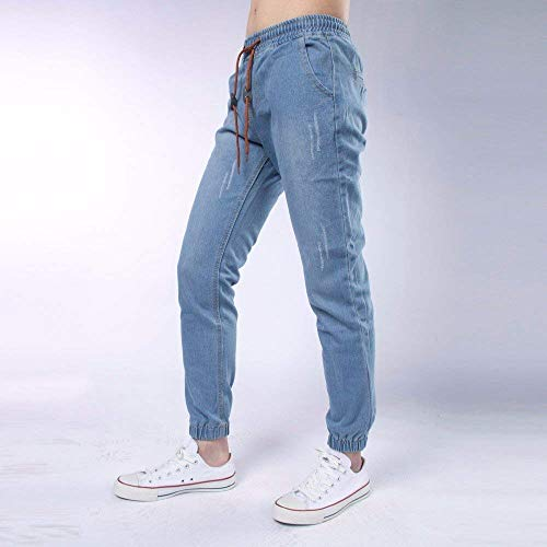 Coulisse Real Estilo Comfy Denim Da Stretto Jeans Pant Vintage Pantaloni Casual Con Uomo Streetstyle Hellblau Especial Polsini wCqnF1X