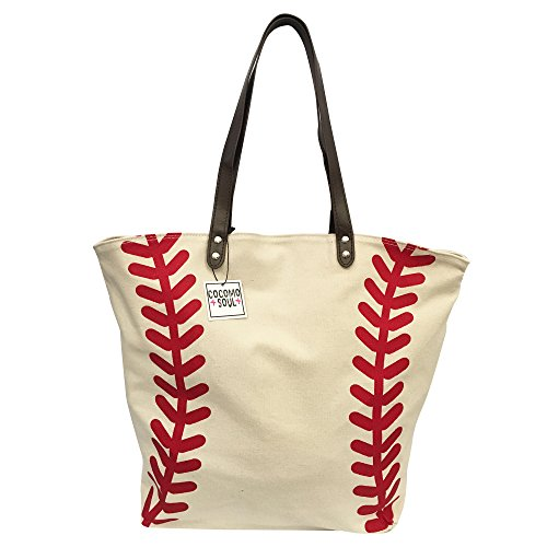 Baseball Canvas Tote Bag Handbag Large Oversize Sports 20 x 17 Inches
