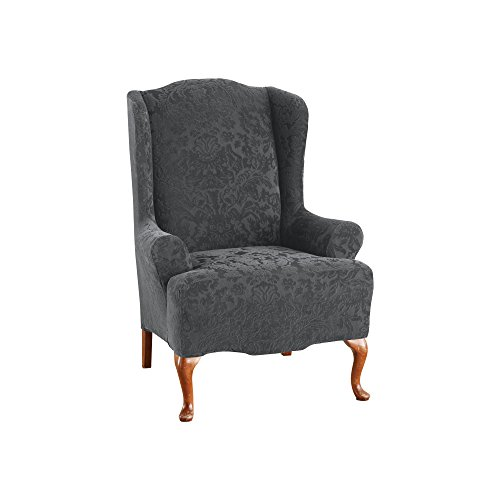 SureFit Stretch Jacquard Damask - Wing Chair Slipcover - Gray