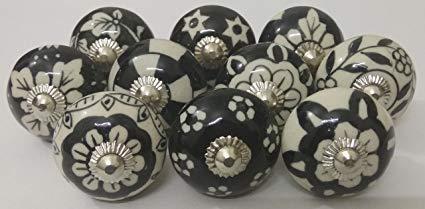 (10 Black & White Ceramic Knobs Handmade Handpainted Ceramic Door Knobs Kitchen Cabinet Knobs Kitchen Cabinet Drawer Pulls Kid's Badroom Knobs by Zoya's (2003))
