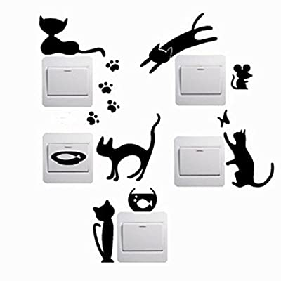 Iuhan® Fashion 5pcs Removable Cute Lovely Cat Switch Wall Sticker Vinyl Decal Home Decor