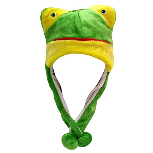 Ibeauti Unisex Adorable Plush Animal Green Frog Winter Hat with Ear Flaps Costume Party Hat (M Party Costumes)