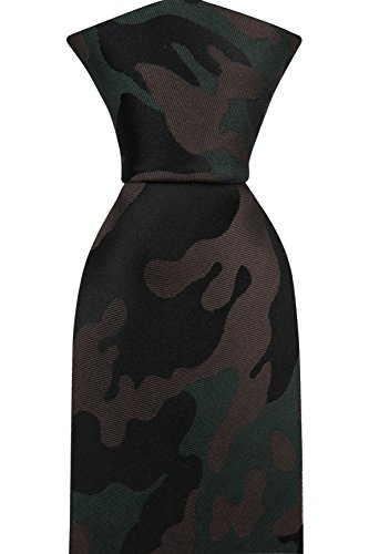 Notch Men's Necktie DEXTER - Camouflage pattern in black, brown and dark - Necktie Camouflage