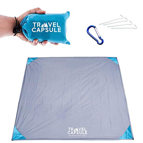 LARGE Outdoor Pocket Blanket 55″x70″ - Perfect for hiking, camping, music festivals, outdoor sporting events, picnics and more! STAKES AND CARABINER included. PERFECT FOR MUSIC FESTIVALS!