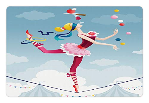Ambesonne Circus Pet Mat for Food and Water, Graphic Circus Performer Woman Juggling with Balls Standing on Wire as Blindfolded, Rectangle Non-Slip Rubber Mat for Dogs and Cats, Multicolor