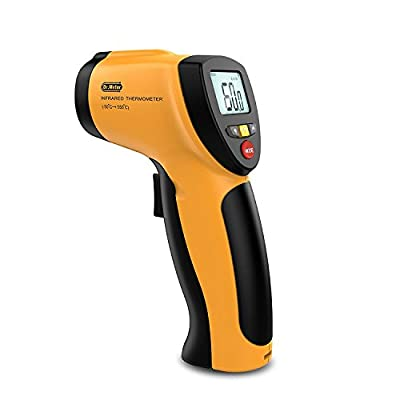 Dr.meter Non-contact Digital Laser Infrared Thermometer with Backlit LCD Display,Max/Min Mode,(-122?~1022?/-50°C to +550°C),Carry pouch Included. IR-20
