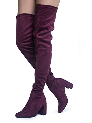 Velve (Red Leather Thigh High Boots)