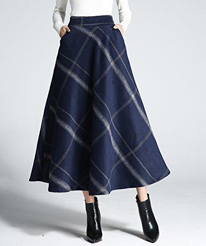 lgant Taille Fonc Plaid Jupe Line Femmes Jupe Lattice Hiver Maxi lastique Jupe Plisse Longue Bleu en Taille Multicolore A Automne Haute Chaude Mode Laine Midi XwqOaSwx