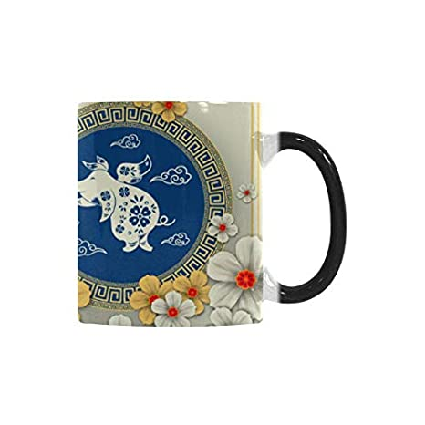 InterestPrint Happy New Year 2019 Year of the Pig Chinese Paper Cut Style  Color Changing Coffee Mug Heat Sensitive Morphing Mug Tea Cup Funny Gift  for
