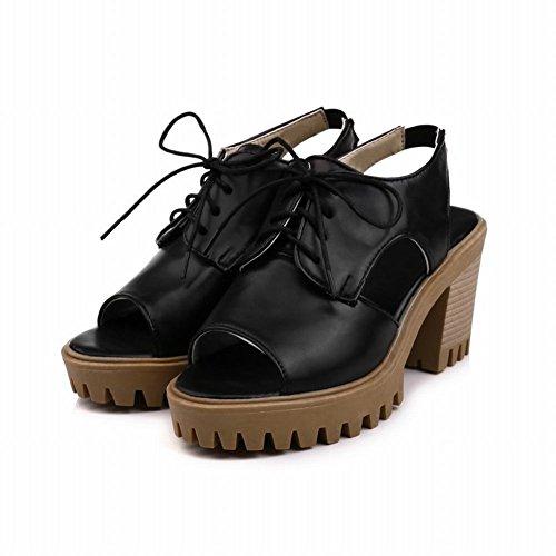 Charm Foot Womens Western Open Toe Lace Up Platform Chunky Heel Sandals Black mZzFI