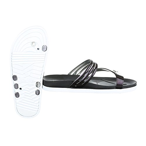 Ital-Design Zehentrenner Damenschuhe Peep-Toe Zehentrenner Sandalen/Sandaletten Schwarz