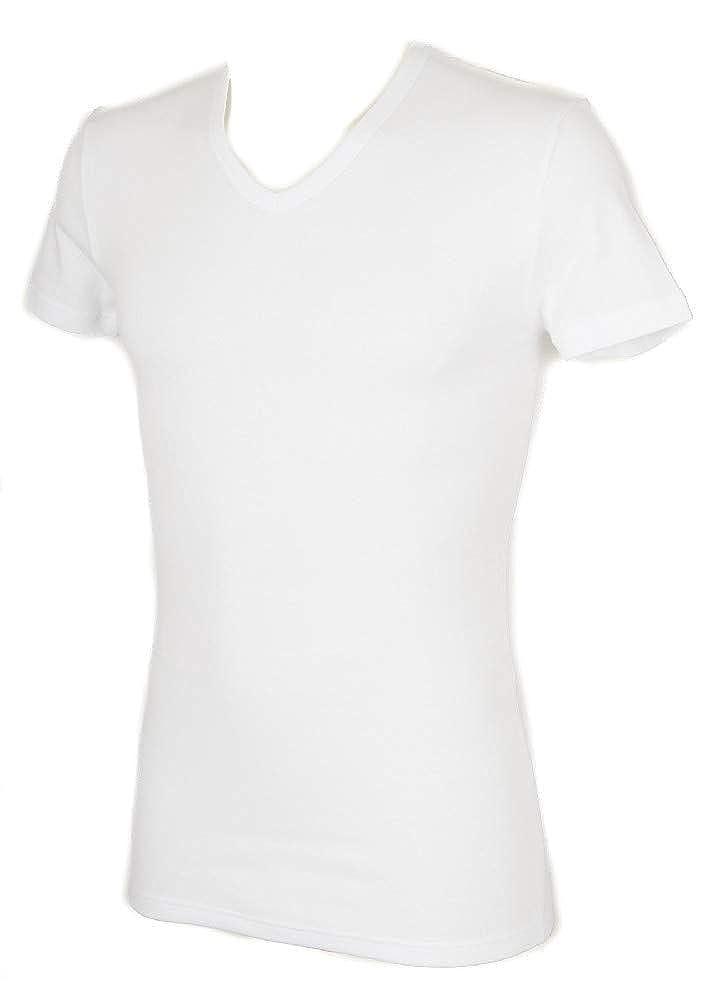 RAGNO T-Shirt Uomo Caldo Cotone Scollo V Manica Corta Sport Articolo 601958 Natural Micropile