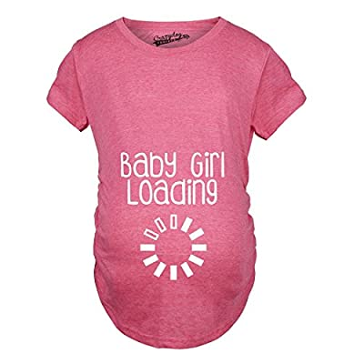 Maternity Baby Girl Loading Tshirt Funny Pregnancy Announcment Tee (Pink)