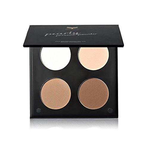 Tanali Contour Highlighter Powder Palette -4 Color Matte Glitter Foundation Face Makeup Compact Set (#3)