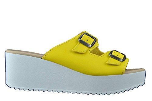 Sandalo scalzato donna zeppa ciabatte colore giallo con fibbie