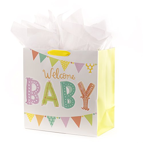 Hallmark Oversized Baby Gift Bag with Tissue Paper for Baby Showers, New Parents and More (Welcome Baby)