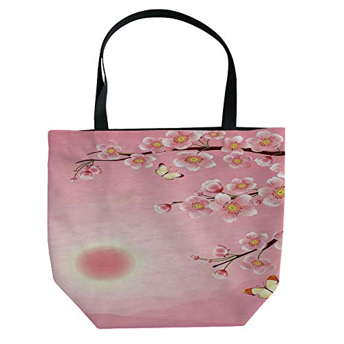 Handbag Canvas Shoulder Bag Modern Stylish,Asian Decor,Chinese Landscape Painting with The Temple on The Cliff and Flying Gulls Over The Clouds,White Green,Personalized -