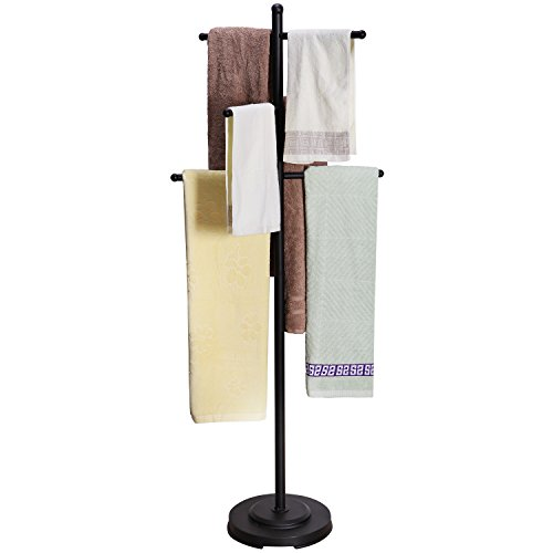 Modern Heavy Duty Black Metal Floor Freestanding 6 Towel Bars Bathroom Rack/Drying Stand/Towel Valet by MyGift