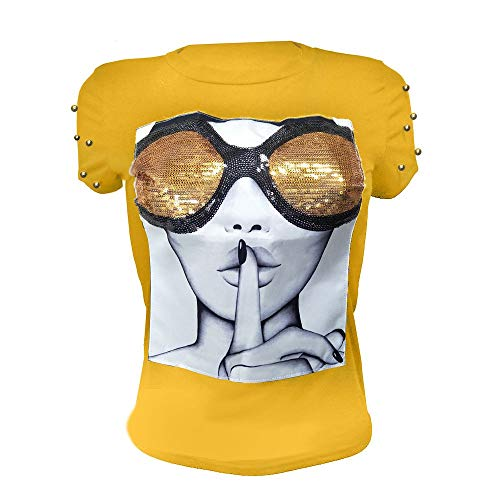 Yellow Sequin Top (PESION Womens Short Sleeve T-Shirt Sequined Tops O-Neck Funny Graphic Tees Blouse, Yellow)