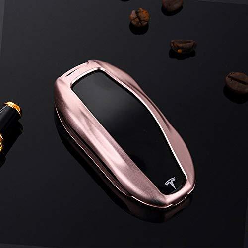 Tesla Key Fob Cover Case, Alumium Hard Keyless Remote Flip Key Protection Case Shell Cover Key Chain for Men Women (Model S, Rose Gold)