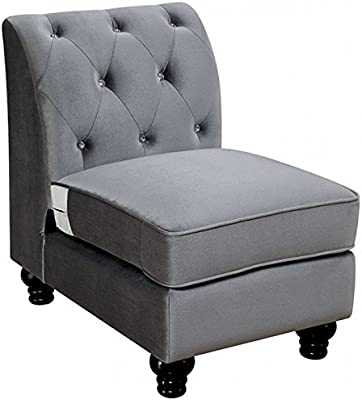 Esofastore Traditional Formal Sectional Sofa Gray Flannelette Fabric Loveseat Chair Wedge Crystal Tufted Flared Arms Nailhead Trim