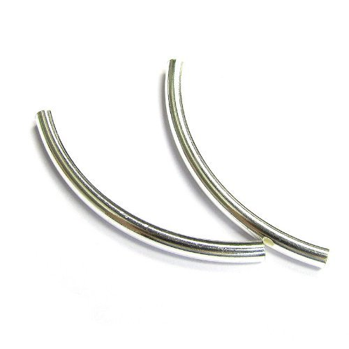 4 pcs .925 Sterling Silver Curved Tube Bracelet Bead 3mm X - Tube Curved Silver Sterling