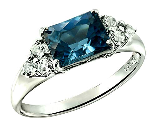 RB Gems Sterling Silver 925 Ring Genuine Gemstone Emerald-Cut 2.5 Cts, Rhodium-Plated Finish (12, - Ring 6mm Cut Setting Emerald