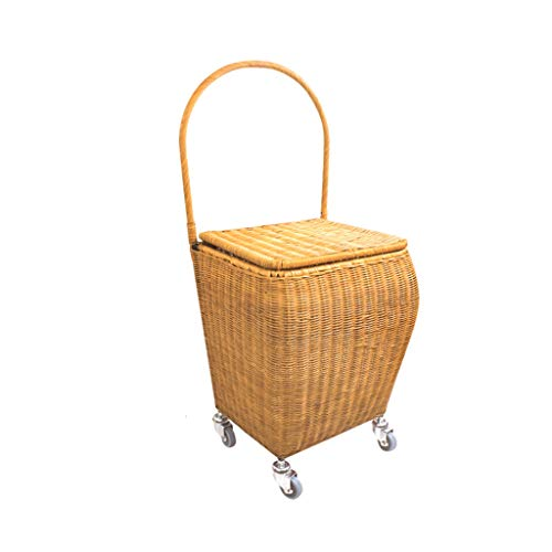 (Baichenglian Picnic Basket Rattan Picnic Basket with Lid, Woven Shopping Basket with Wheels and Handles, Trolley Portable Basket, Storage Basket Portable Cart (2 Color) (Color : Yellow))