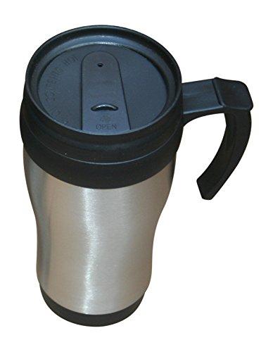 Mug Stainless Liner - Car Buddy Travel Coffee Mug 16 oz. with Handle. Stainless Steel Shell. BPA Free Liner.