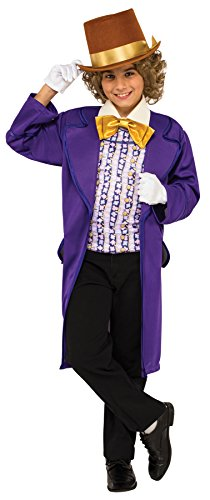 Boy's Willy Wonka Outfit Movie Theme Fancy Dress Child Halloween Costume, Child M (8-10) Purple -