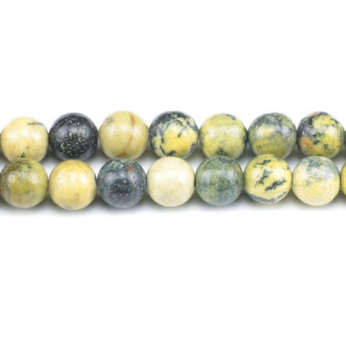 (Strand 45+ Yellow/Green Jasper 8mm Plain Round Beads GS1602-3 (Charming)